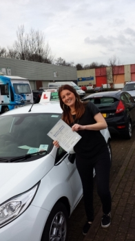Aimee Hooper proudly holding her certificate after passing her test first time today with a confident drive with 4 driver faults. A great result after working hard, having most lessons after work in the dark, and being determined and focussed on the day!  Well done and congratulations again.  A good start to 2014 for Aimee, Drivewell and Snowy. Hop...