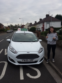 Rhiannon James delighted to be holding her Pass Certificate after passing her test first time today.  Rhiannon did very well with a good drive negotiating rush hour traffic with only 4 driver faults.  This is an excellent result after working hard including private practice with her parents.  Rhiannon was a joy to teach taking her lessons seriously...