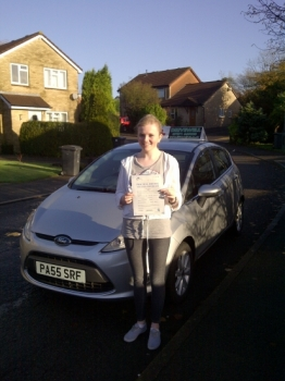 Proudly holding her Pass Certificate.  I really enjoyed the safe drive in the back.  Enjoy your Pass Plus next. NOVEMBER 2012...